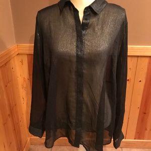 LANE BRYANT women's black shear, shimmery blouse